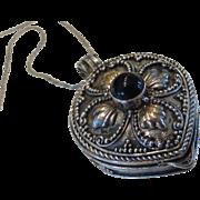 Vintage Garnet Sterling Silver Locket Necklace Pill Holder