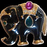 Vintage Bejeweled Enameled Elephant Brooch, Signed Roman