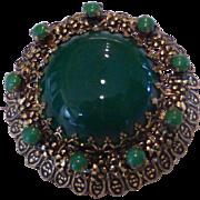 Vintage Green Art Glass Filigree Brooch Austria