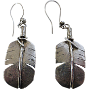 """Large Navajo Sterling Silver Feather Earrings 2-7/8"""""""