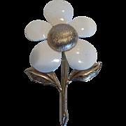 J965 Vintage 1960's Big Enameled Metal Flower Brooch, Signed