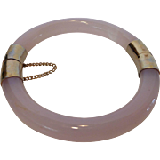 Vintage Chinese Rose Quartz Gemstone Gold Plated Trim Hinged Bangle Bracelet