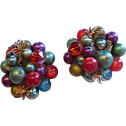 Vintage Multi-Color Crystal Bead Faux Pearl Cluster Earrings