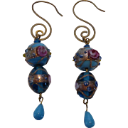 Vintage Venetian Murano Wedding Cake Lampwork Glass Bead Earrings