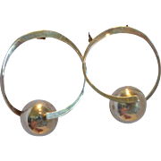 Large Sterling Silver Hoop and Ball Earrings Taxco Mexico