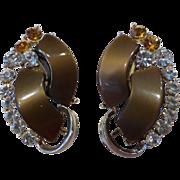 Vintage Signed STAR Thermoset Plastic & Rhinestone Earrings