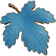 Turquoise Blue Guilloche Enamel Maple Leaf Brooch Pin  Norway