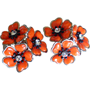 vintage 1950's Orange Plastic Rhinestone Flower Cluster Earrings