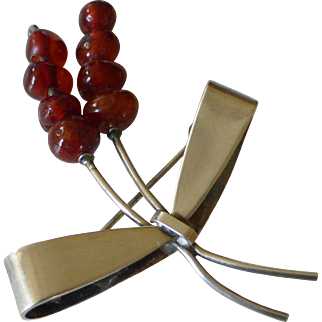 Carl Ove Frydensberg COF Denmark Sterling Silver Amber Brooch Pin