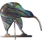 Vintage Sterling Silver Abalone Paua Inlay Kiwi Bird Pin Brooch