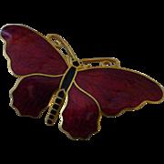 Vintage 1950's Red Enamel Butterfly Brooch Signed Sporrong & Co Sweden