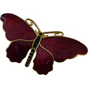 Vintage 1950's Red Enamel Butterfly Brooch Signed Sporrong & Co Sweden