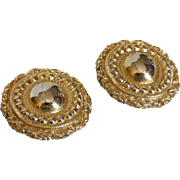 Vintage Signed Givenchy Gold Tone Etruscan Style Button Earrings