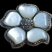 Sterling Silver Marcasite MOP Flower Brooch Pendant