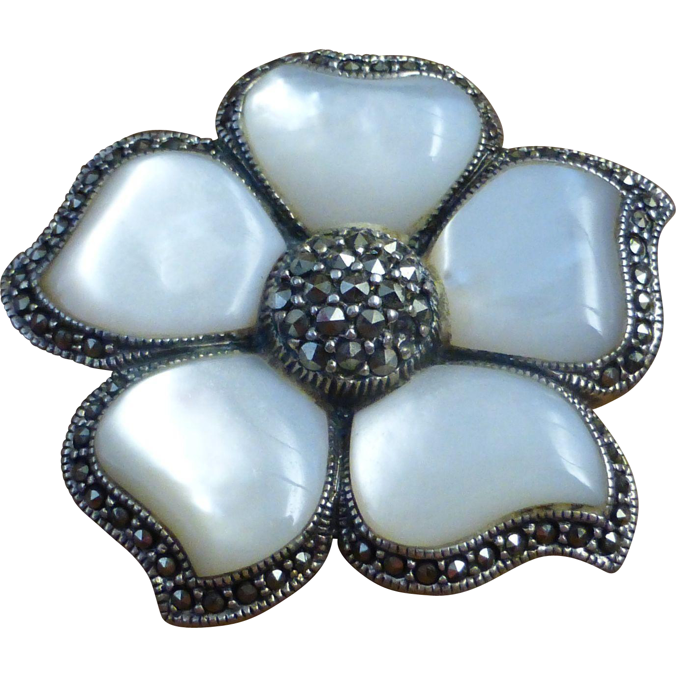 Sterling silver marcasite mop flower brooch pendant from for Sell gold jewelry seattle