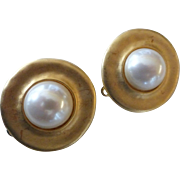 Erwin Pearl Signed Gold Tone Pearl Button Earrings