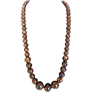 Marbled Chocolate Brown Graduated Bead Necklace Chunky 1940s