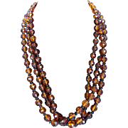 Great Mid-Century Triple Strand Root Beer Lucite Bead Necklace