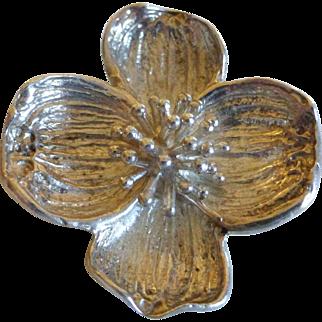 Vintage Tiffany & Co Sterling Silver Dogwood Flower Brooch