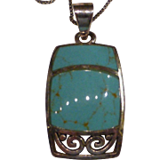 Vintage Sterling Silver Turquoise Necklace Thailand