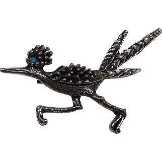 Vintage Pewter Roadrunner Brooch Pin