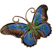 Vintage Sterling Silver Cloisonné Enameled Butterfly Brooch Pin