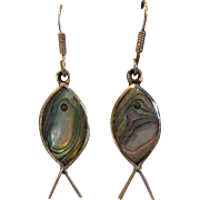 Vintage Modernist Sterling Silver Abalone Fish Earrings Taxco, Mexico