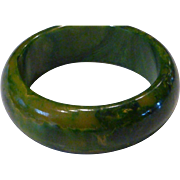 Lucite Marbled Green & Butterscotch Lucite Bangle Bracelet