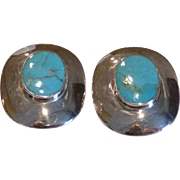 Vintage Genuine Turquoise & Sterling Silver Earrings