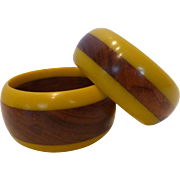 Lucite & Wood Bangle Bracelets Pair