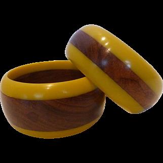 Lucite & Wood Bangle Bracelets Pair