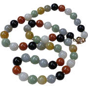 14K Yellow Gold Multi-Color Jade Bead Necklace