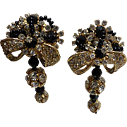 Lois Ann Clear Crystal Rhinestone & Jet Black Cluster Bead Dangle Earrings