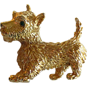 Gold Tone Scotty or Westie Terrier Dog Pin Brooch Signed