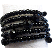 Five Strand Jet Black Glass Bead Memory Wrap Bracelet