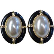 Faux Mabe Pearl Black Enamel Button Earrings