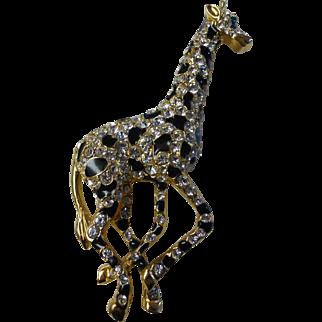 Large Giraffe Brooch Crystal Rhinestones & Black Enamel