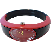 Fabulous 1960's Alfex Swiss Women's Red & Black Plastic Bracelet Watch