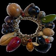 Botanical Folk Art Charm Bracelet with Seeds, Beans, Pods and Pits