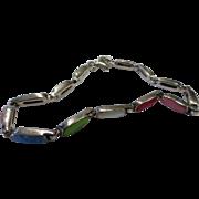 Sterling Silver Multi-Colored Semi-Precious Stones Link Bracelet