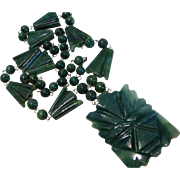 1940's Carved Jade Aztec Style Face Mask Necklace Mexico
