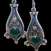 Vintage Jade Sterling Silver Earrings
