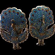 Vintage Siam Sterling Gold Wash Enamel Peacock Earrings