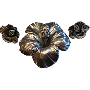 G. Cini for Gump's Sterling Silver Hibiscus Flower Brooch Earrings Set