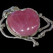 Pink Rhodochrosite HEART Pendant Sterling Silver Free Form
