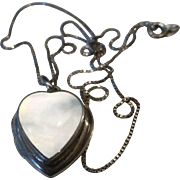 Heart Locket Necklace Sterling Silver & Mother of Pearl