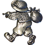 Sterling Silver Pin Brooch of Whimsical Child with Bundle On Stick Signed CL