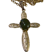 Jade Cross Pendant Necklace