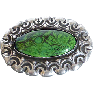 Rare Antique Maw Sit Sit Sterling Silver Repousse Brooch Holland