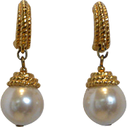 Vintage Napier Faux Pearl Drop Earrings Pierced Style